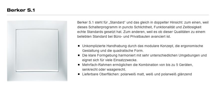 Elektroinstallation - Berker S1 - Quelle: http://www.berker.de/produktkatalog/design/berker-s.1/523968.htm
